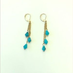 Jewelry - 3 for $8 / Turquoise + gold chain dangle earrings